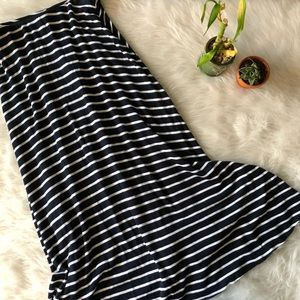 Zara Navy Striped High Waisted Skirt